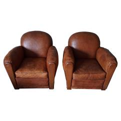 Art Deco Club Chairs Leather Hanging Clear Plastic Distressed Pair Of French Cognac