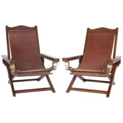 Folding Chair India Patio And Ottoman Exceptional Pair Of Campaign Style Chairs For Sale