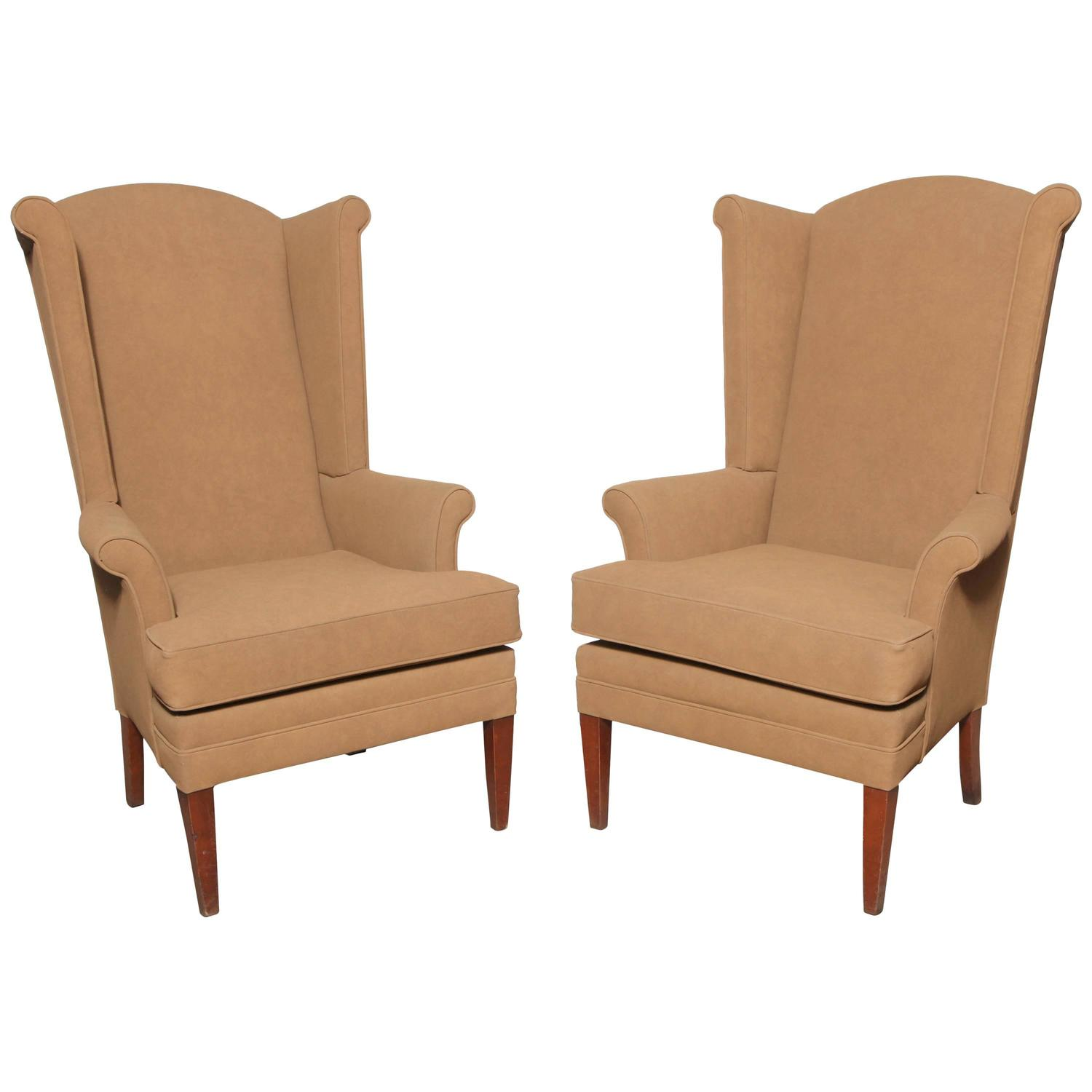 tall dining chairs slipcover for slipper chair pair of narrow mid century camel highback wingback