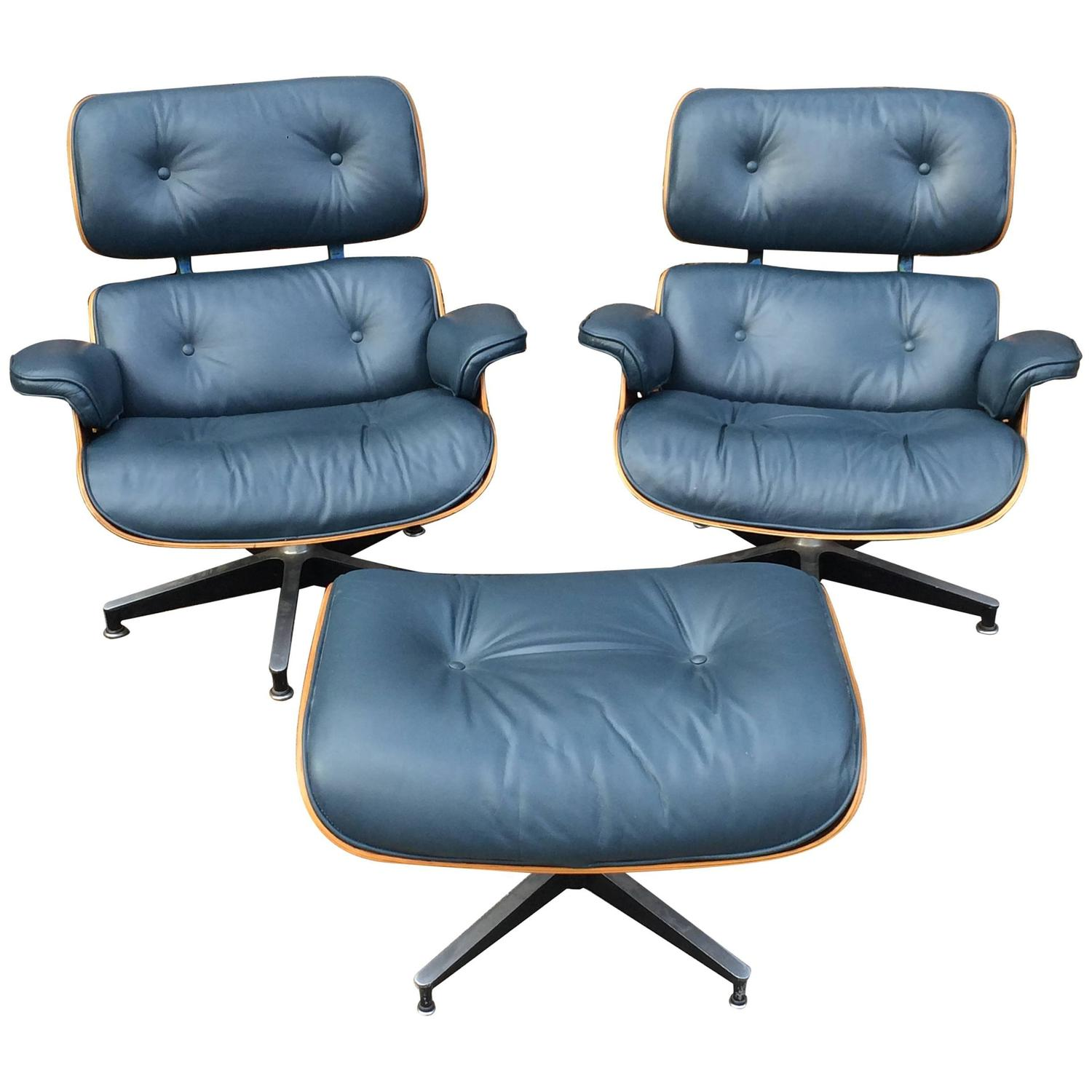 navy chair stool covers for ikea nils rare blue herman miller eames lounge set at 1stdibs