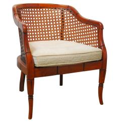 Cane Barrel Chair 1930s Rocking Midcentury Bamboo For Sale At 1stdibs