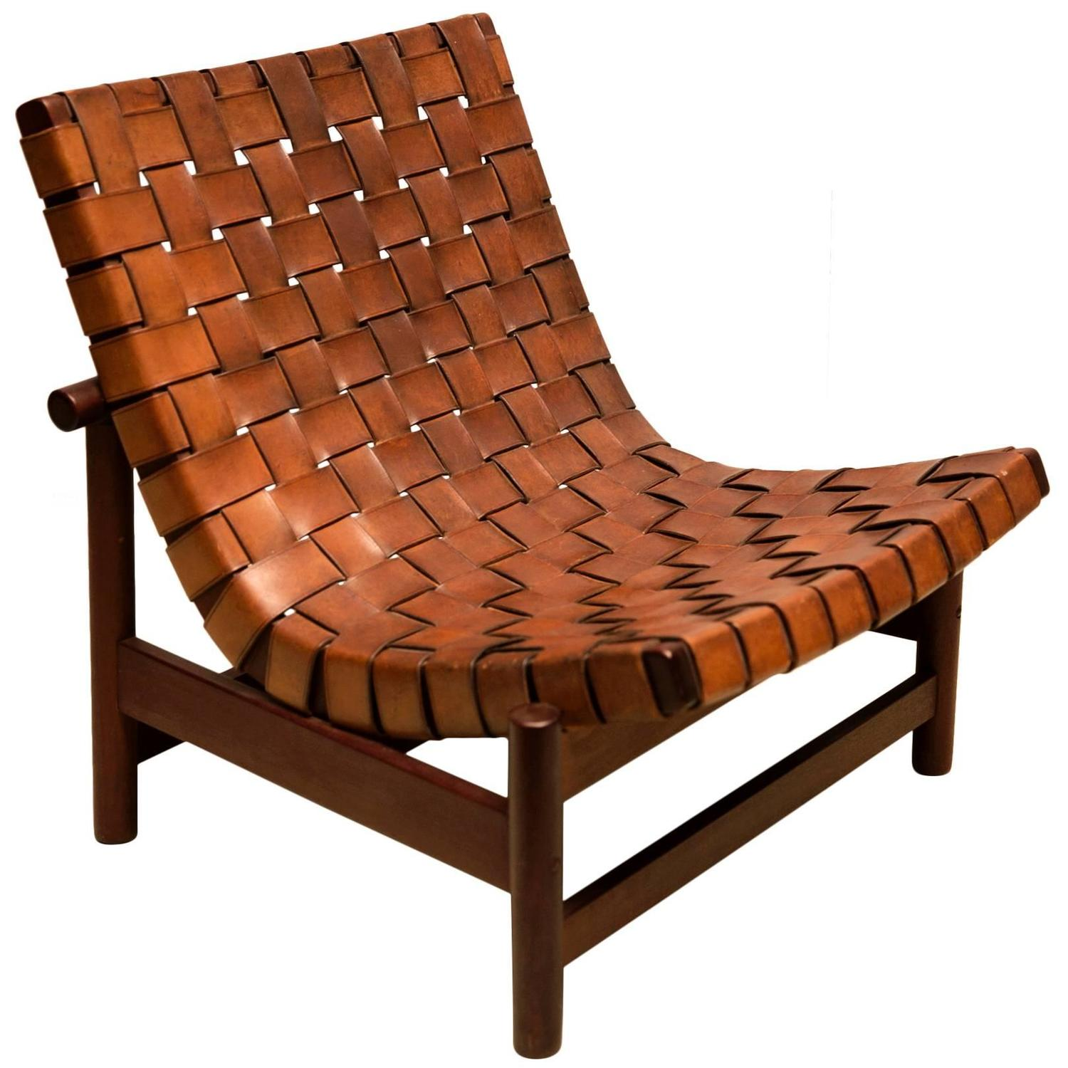 Leather Woven Chair 1950s Lounge Chair In Woven Saddle Leather And Cuban