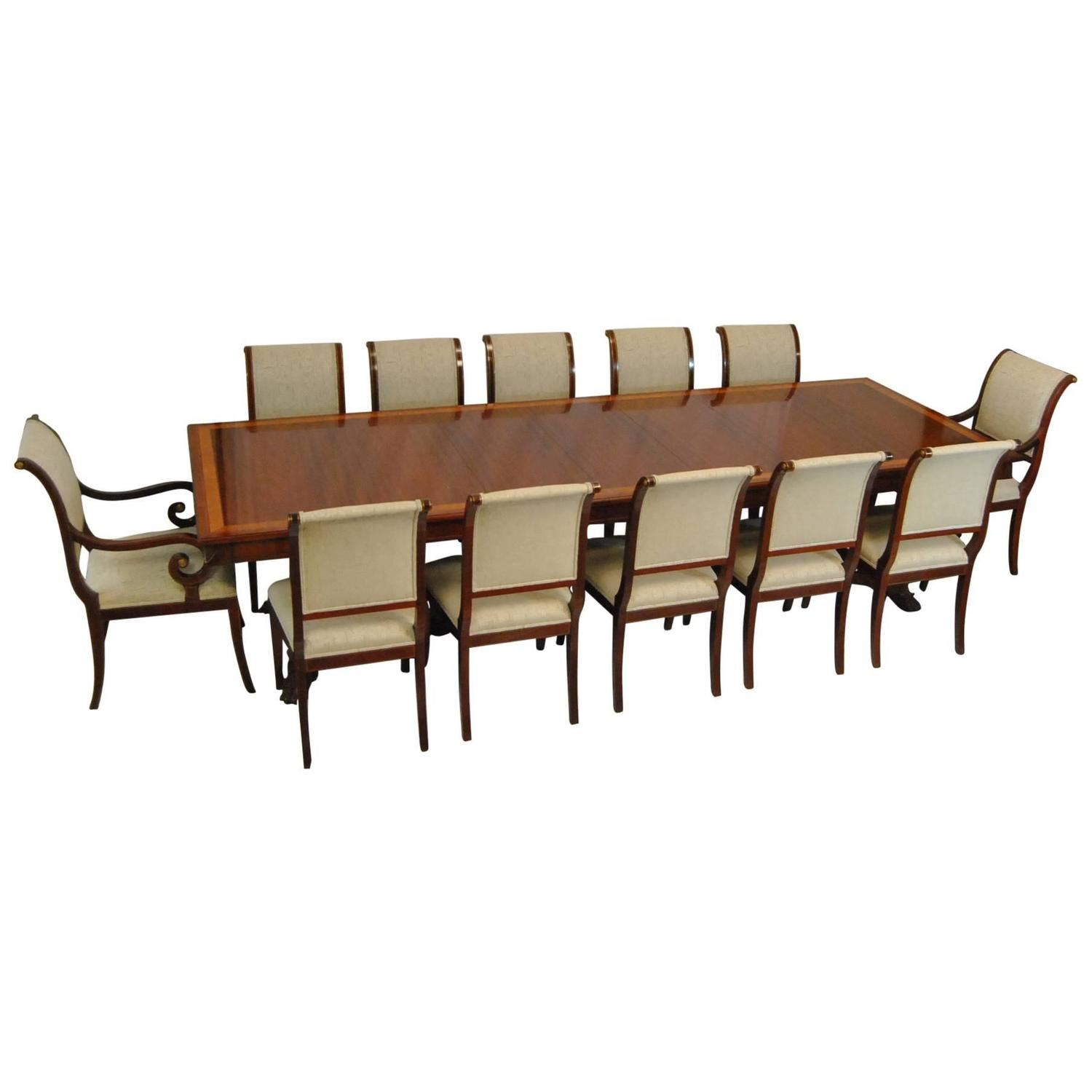 12 Chairs Mahogany Dining Table And 12 Chairs By Kindel Neoclassic