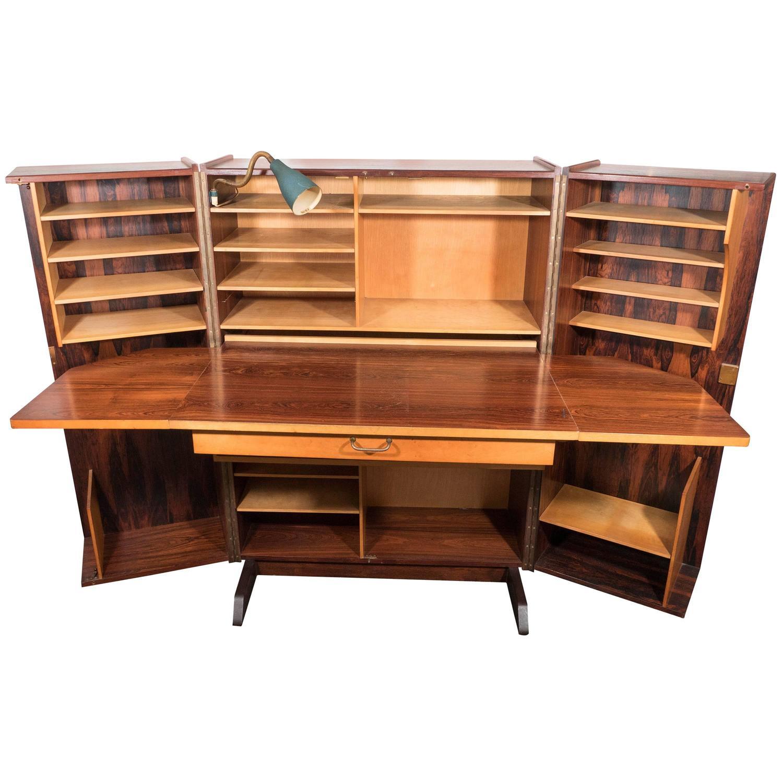 Midcentury Norwegian Hideaway Desk in Rosewood with