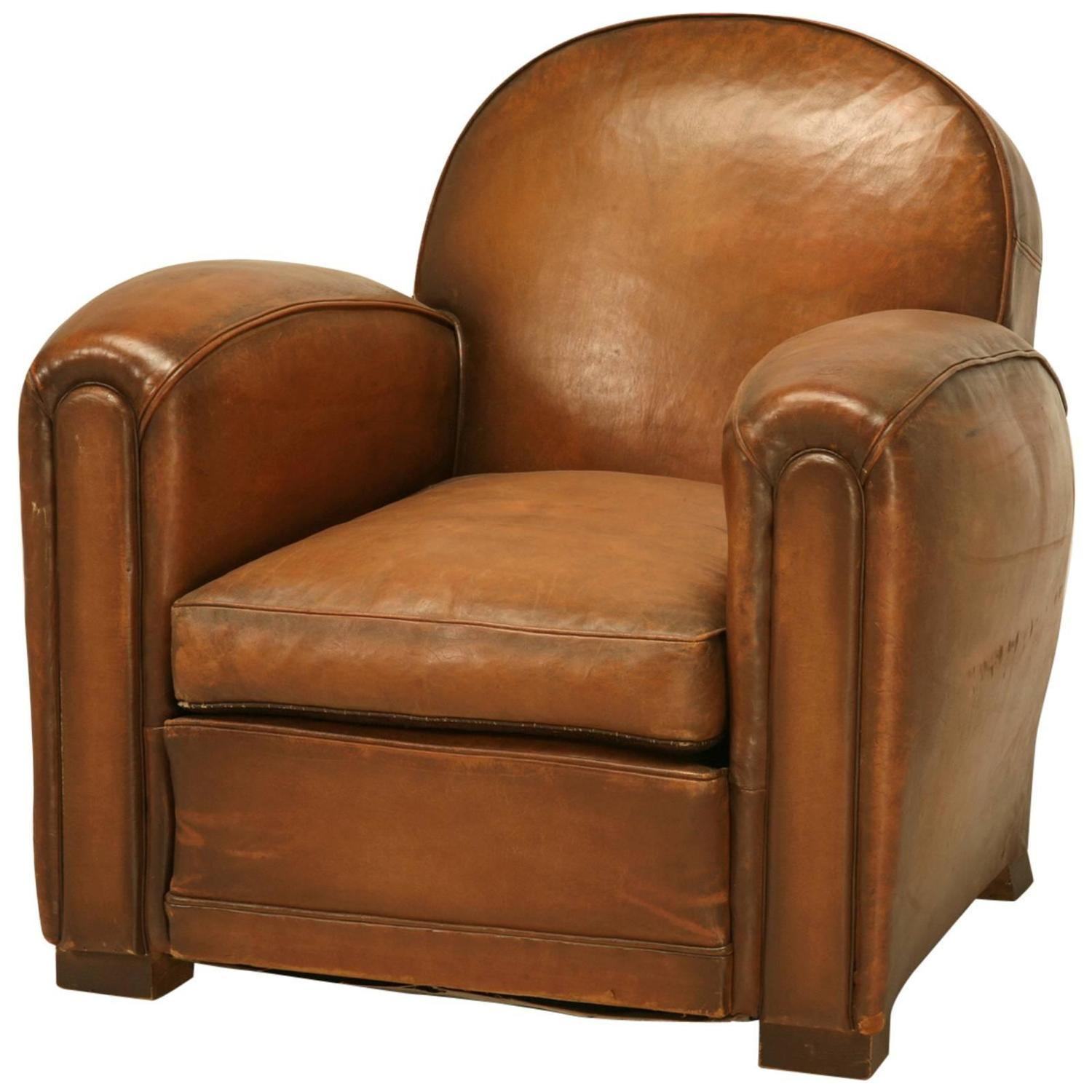 French Club Chair French Leather Club Chair In Mint Original Condition At
