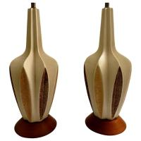 1950s Atomic Age Pair of Mid-Century Ceramic Table Lamps ...