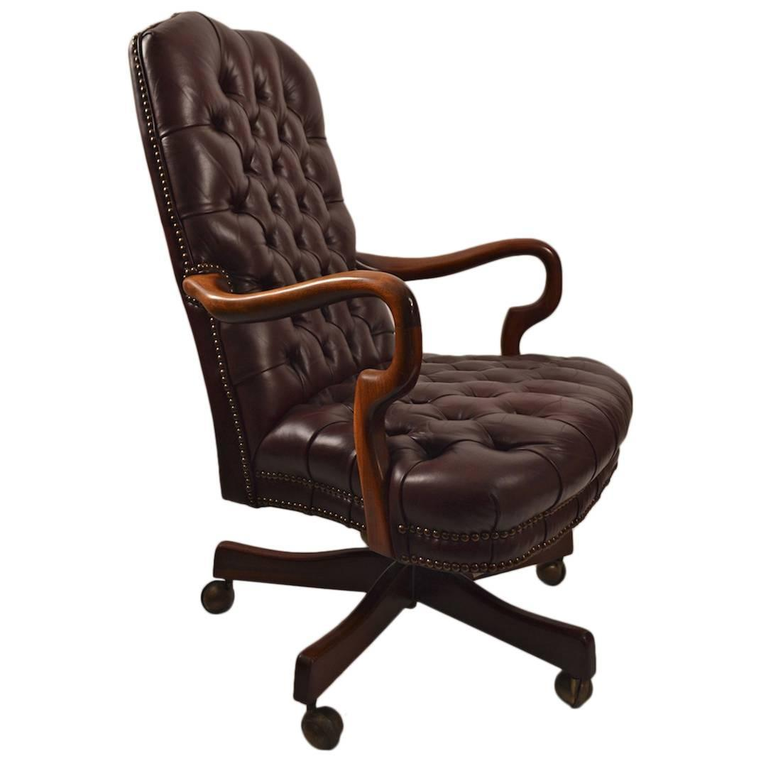 Tufted Leather Chair Swivel Tilt Tufted Leather Chair At 1stdibs