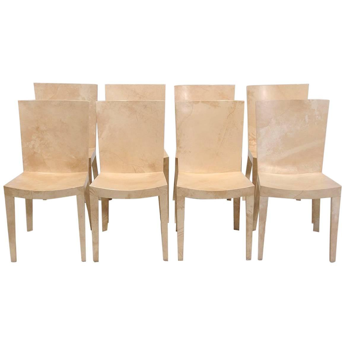 Due North Chairs Set Of Jmf Lacquered Goatskin Chairs By Karl Springer At