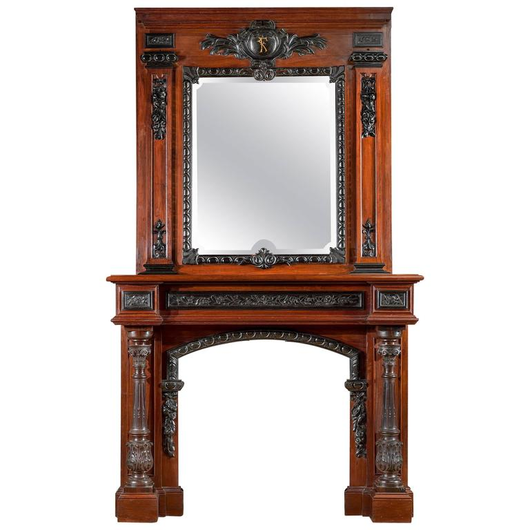 Rosewood and Ebony Antique Fireplace Mantel in the French Baroque Manner For Sale at 1stdibs