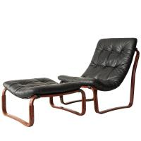 Ingmar Relling for Westnofa Black Leather Chair and ...