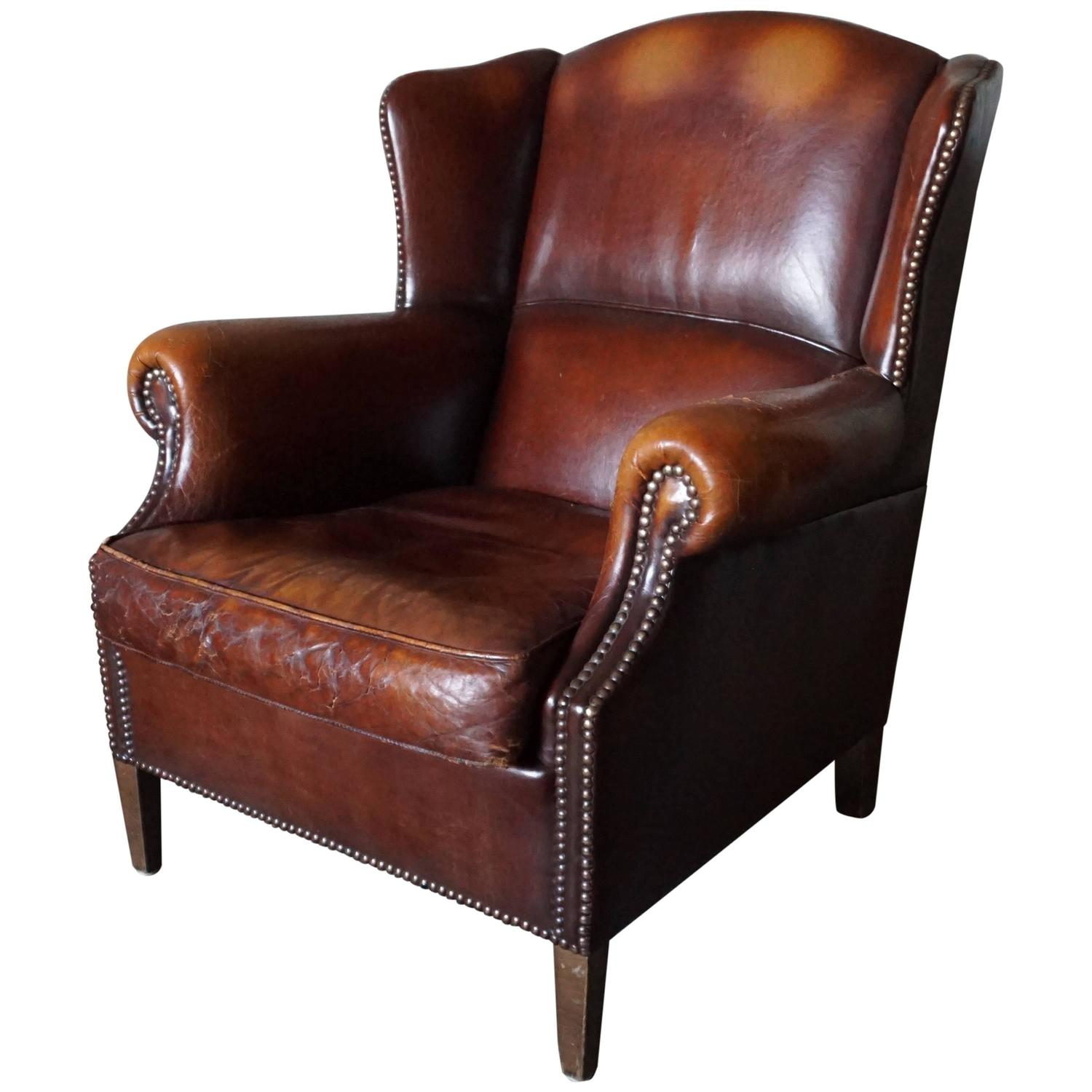 Vintage Club Chairs Vintage Leather Wing Chair Or Club Chair 1950s At 1stdibs