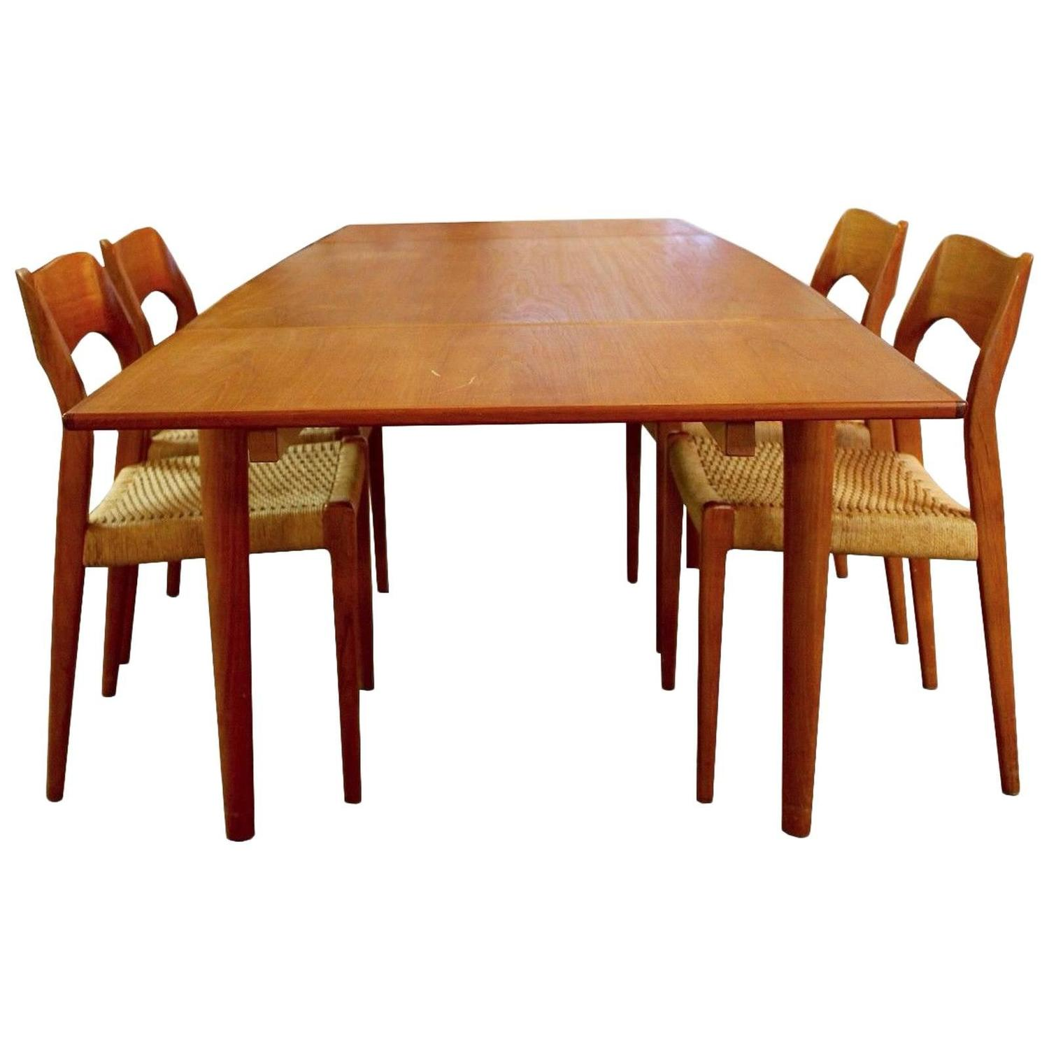 Modern Dining Table And Chairs Mid Century Modern Danish Teak Niels Moller Expandable
