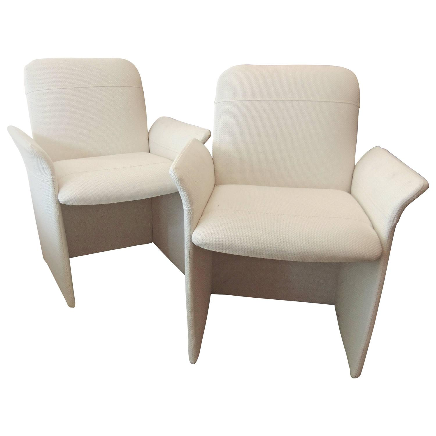 white upholstered chairs french yellow chair pair of mid century modern at 1stdibs