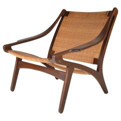 Cane Easy Chair Counter Step Stool Yellow Early Ib Kofod Larsen Walnut And For Sale