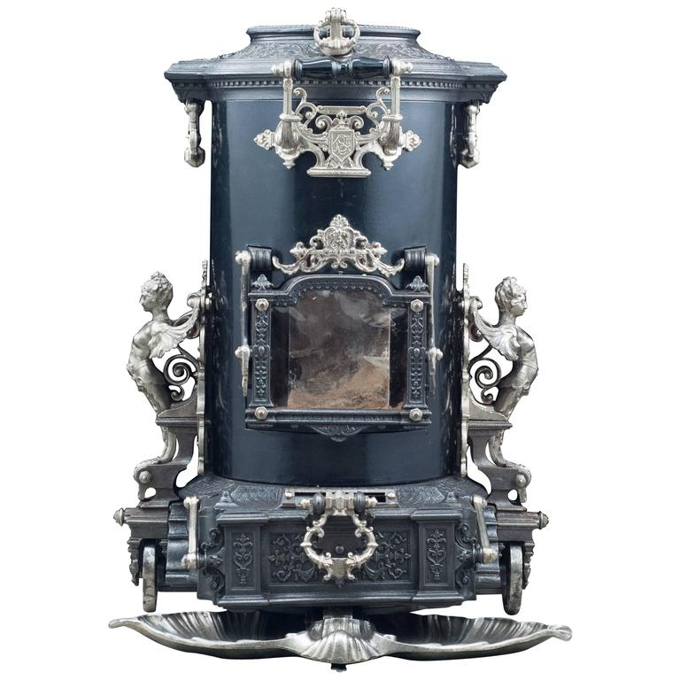 Highly Ornate Cast Iron Antique French Wood Burning Stove at 1stdibs
