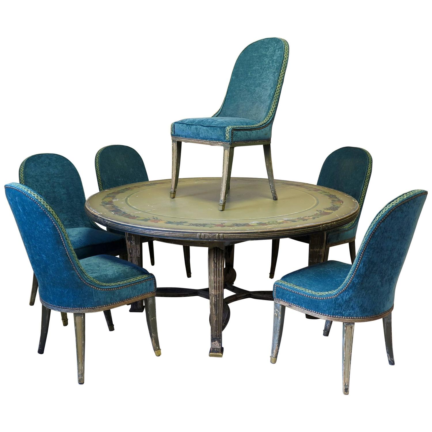 parisian table and chairs high back lounge chair wonderful french art deco dining six from