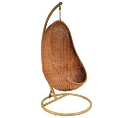 Hanging Chair Wicker Posture Support Cushion Attributed To Nanna Ditzel Circa