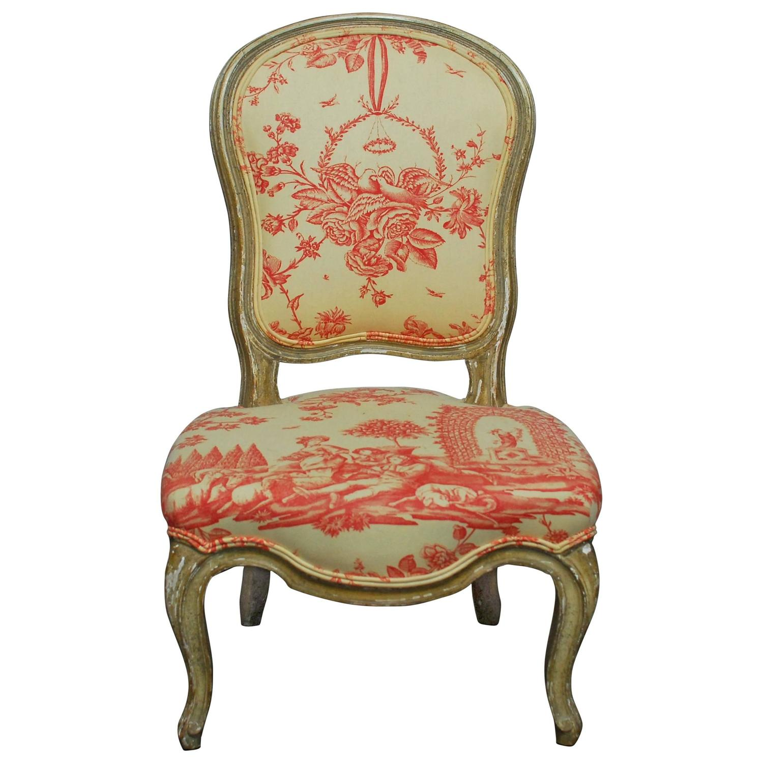 Toile Chair 19th Century Louis Xv Toile Slipper Chair For Sale At 1stdibs