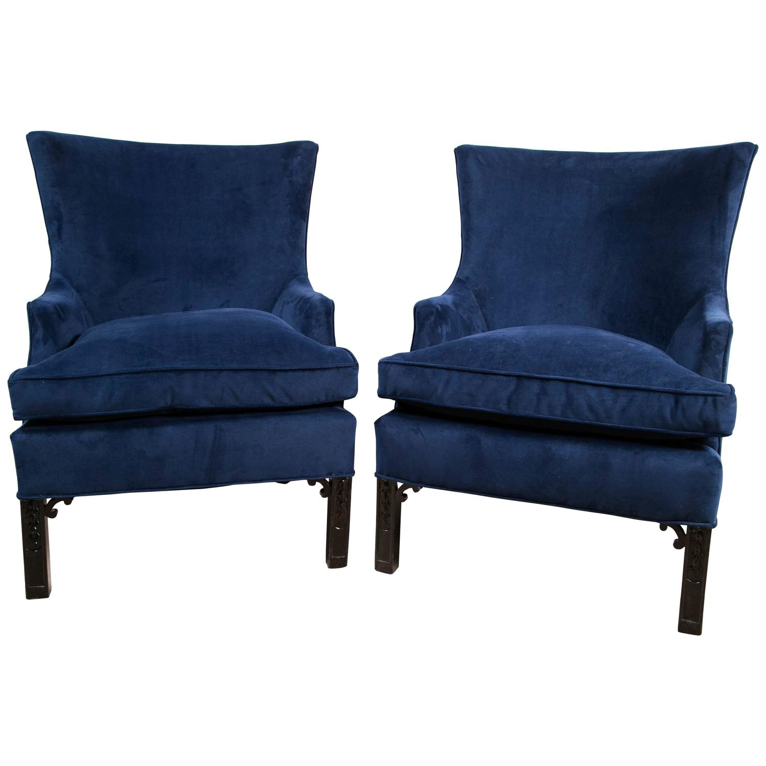 Blue Velvet Chair Pair Of Blue Velvet Club Chairs At 1stdibs