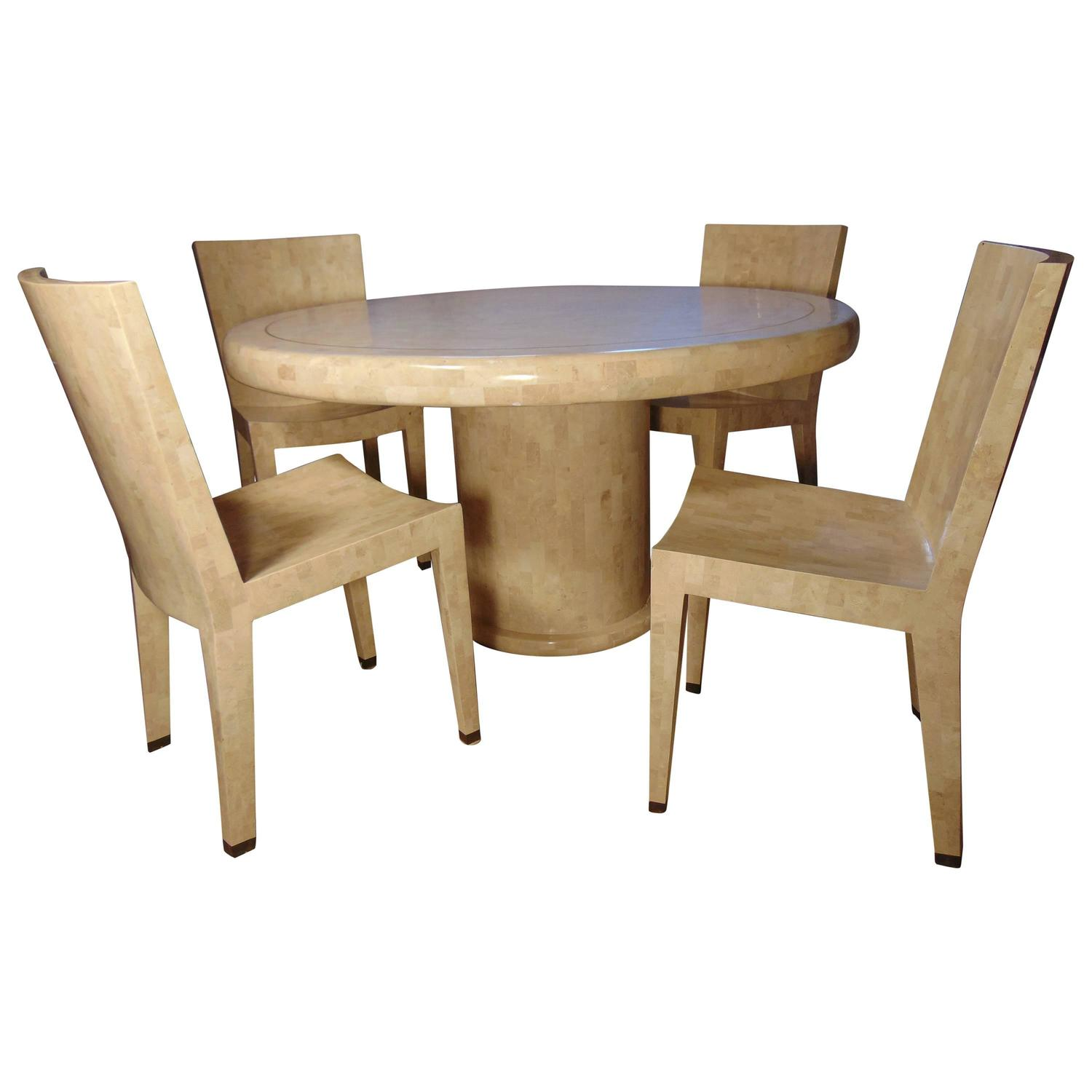maitland smith dining chairs ikea chair poang tessellated marble table and four by