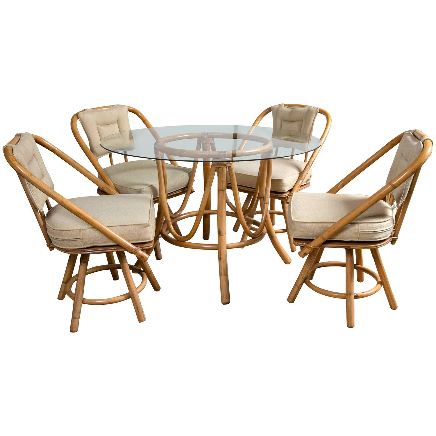 vintage table and chairs ruffled chair covers bamboo rattan round dining at