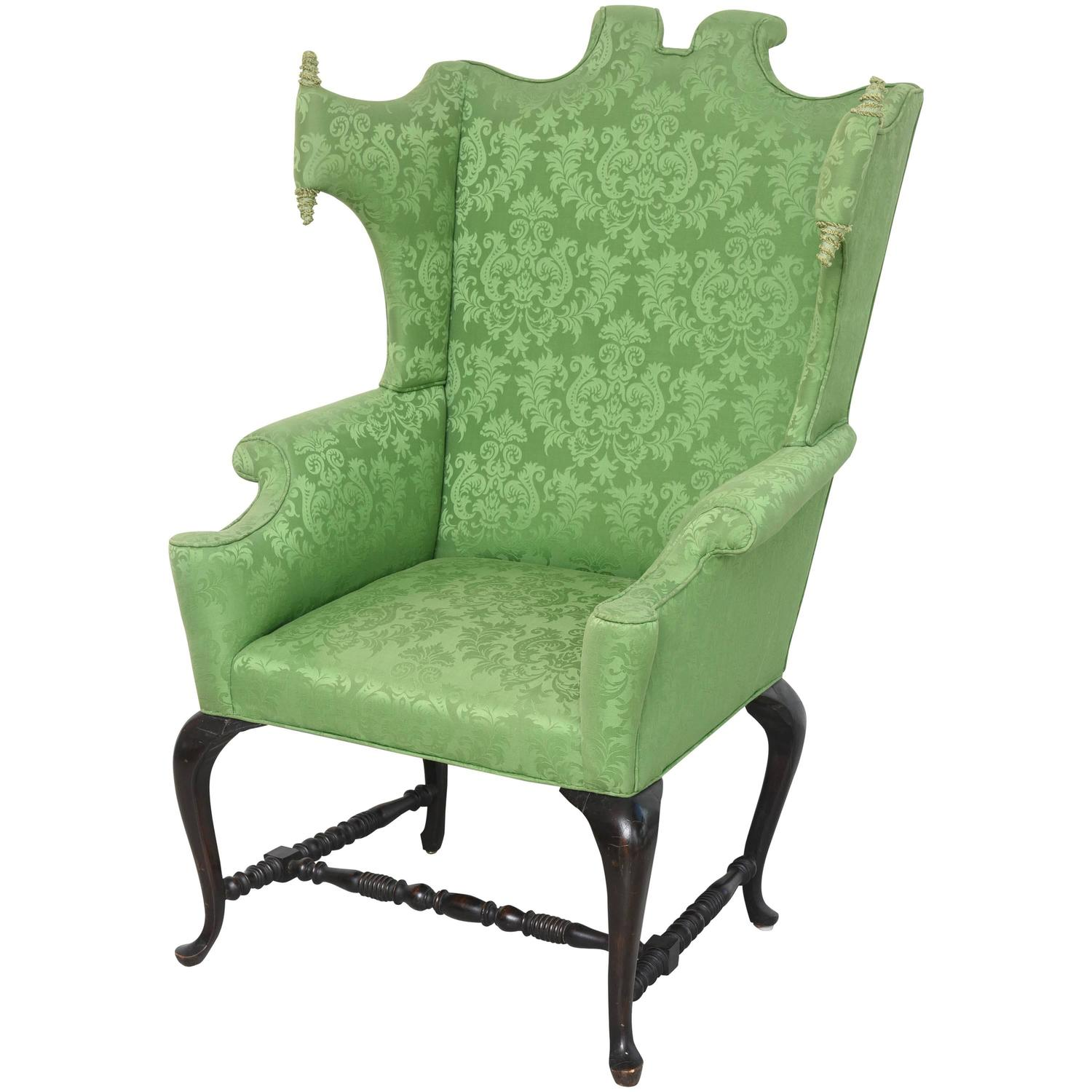 Queen Anne Wingback Chair Whimsical Queen Anne Style Chair At 1stdibs