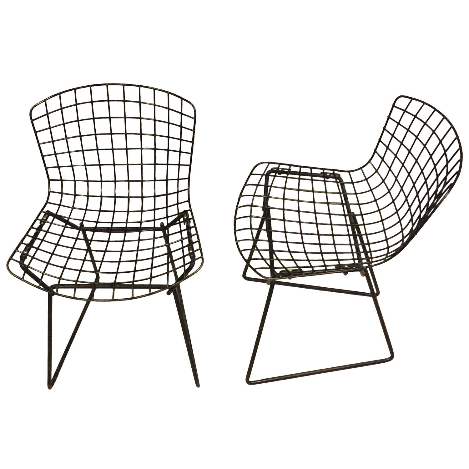 bertoia wire chair original office chairs mesh pair of vintage child size harry for knoll