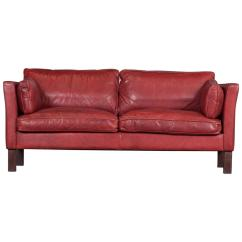 Red Leather Two Seater Sofa Contemporary Living Room Danish In Cherry By Arne