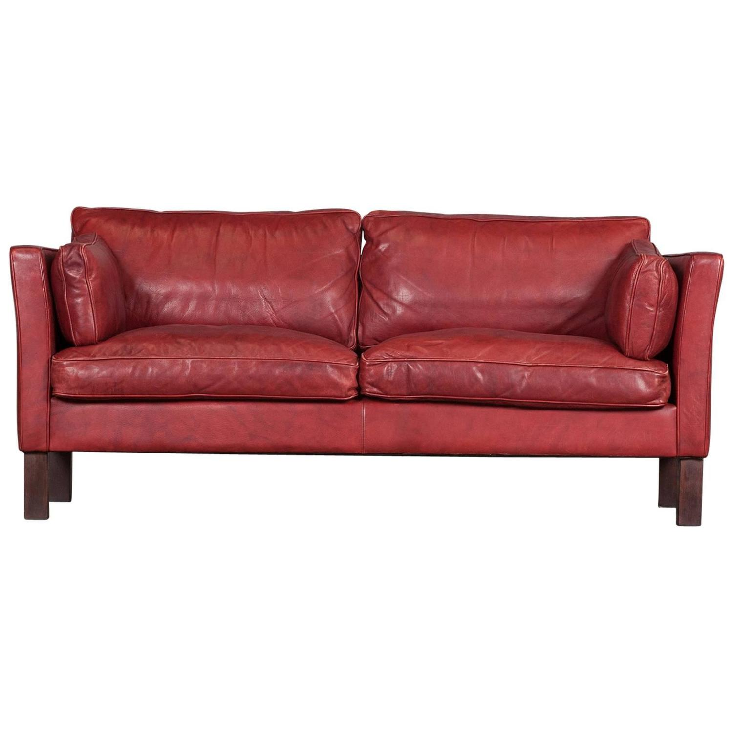 cherry red leather sofa ashley 2 piece sectional danish two seater in by arne