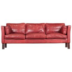 Cherry Red Leather Sofa Faux Arm Covers Danish Three Seater In By Arne