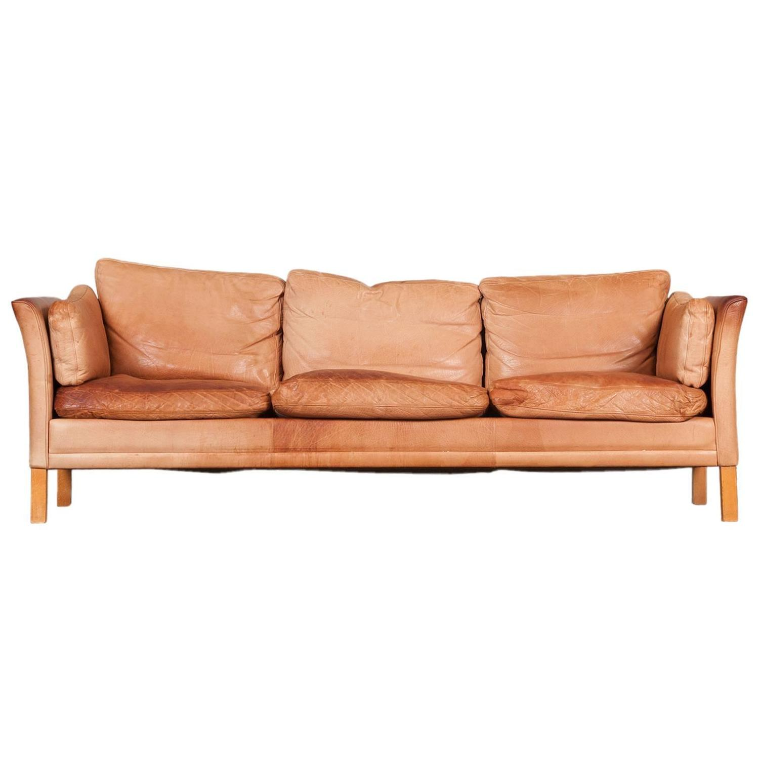 tan leather sofa bed australia arrange sectional small room danish three seater with light 1960s at