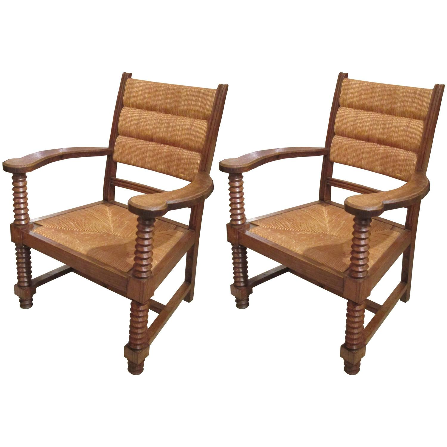 unusual chair legs steelcase think manual pair of caned oak armchairs with barley twist arms