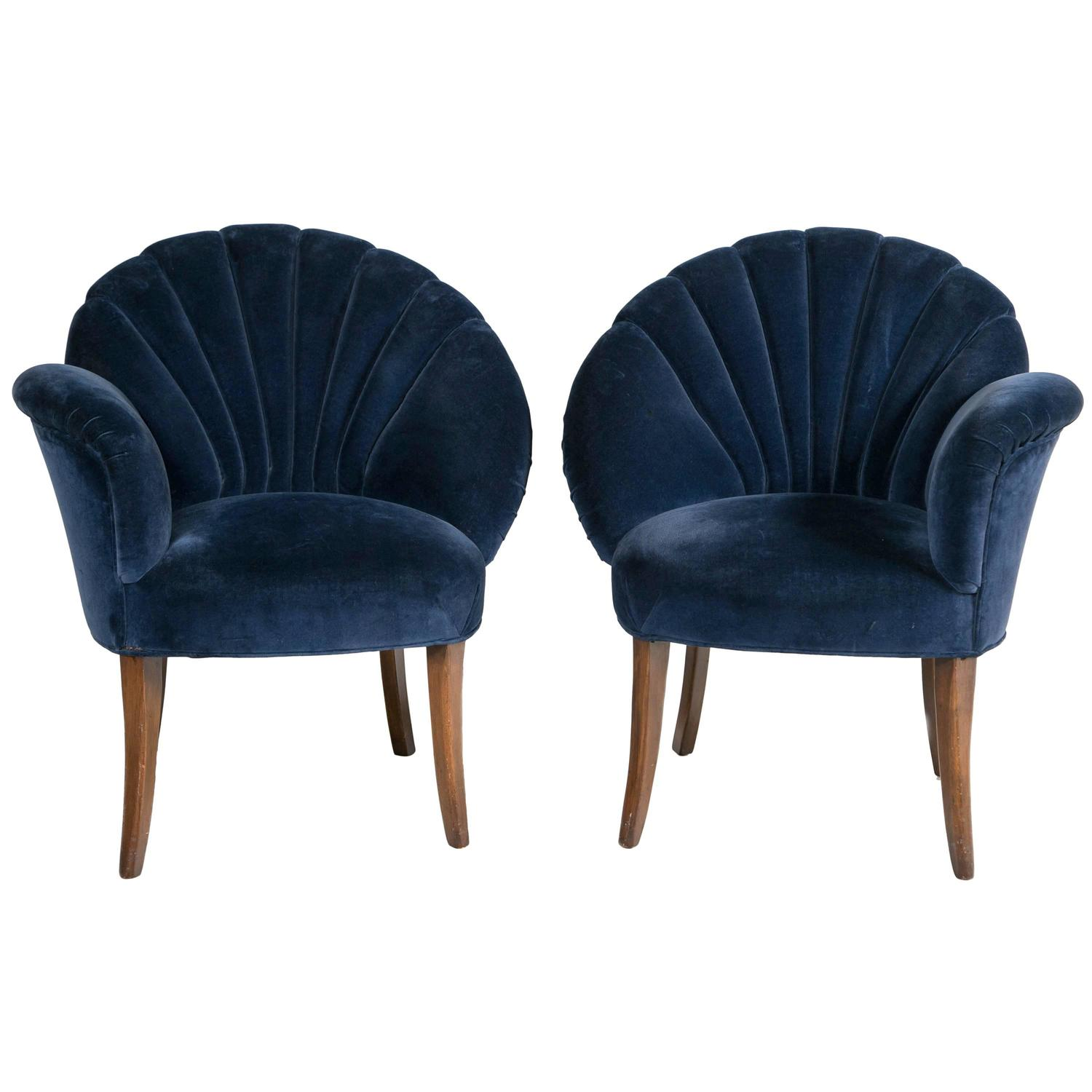 Artistic Chairs Pair Of Art Deco Velvet Chairs At 1stdibs