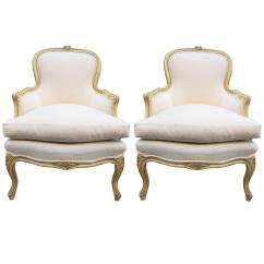 Leather Bergere Chair And Ottoman White Tufted Pair Of French Louis Xv Style Chairs For Sale At