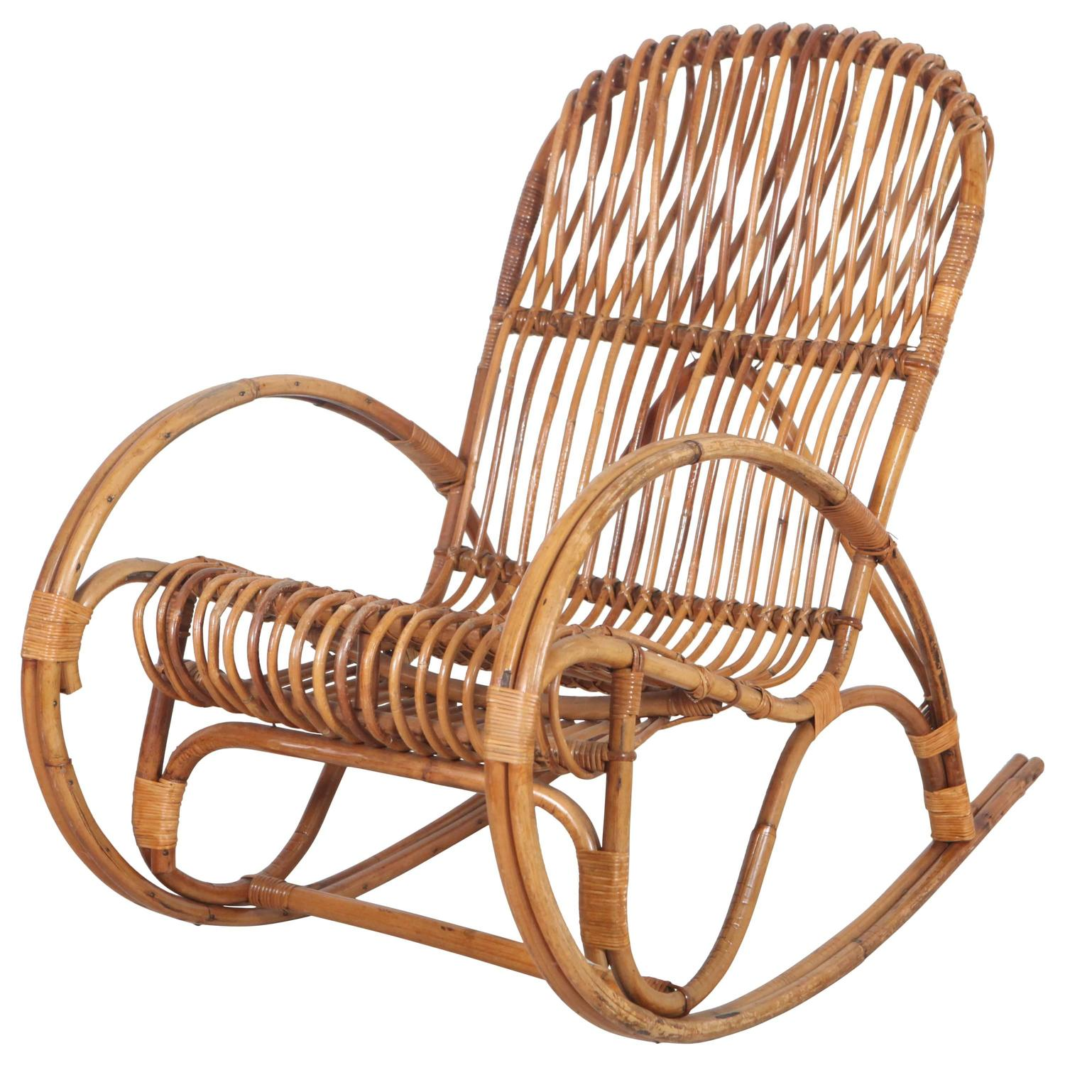 vintage rocking chairs fishing dock chair italian bamboo for sale at 1stdibs