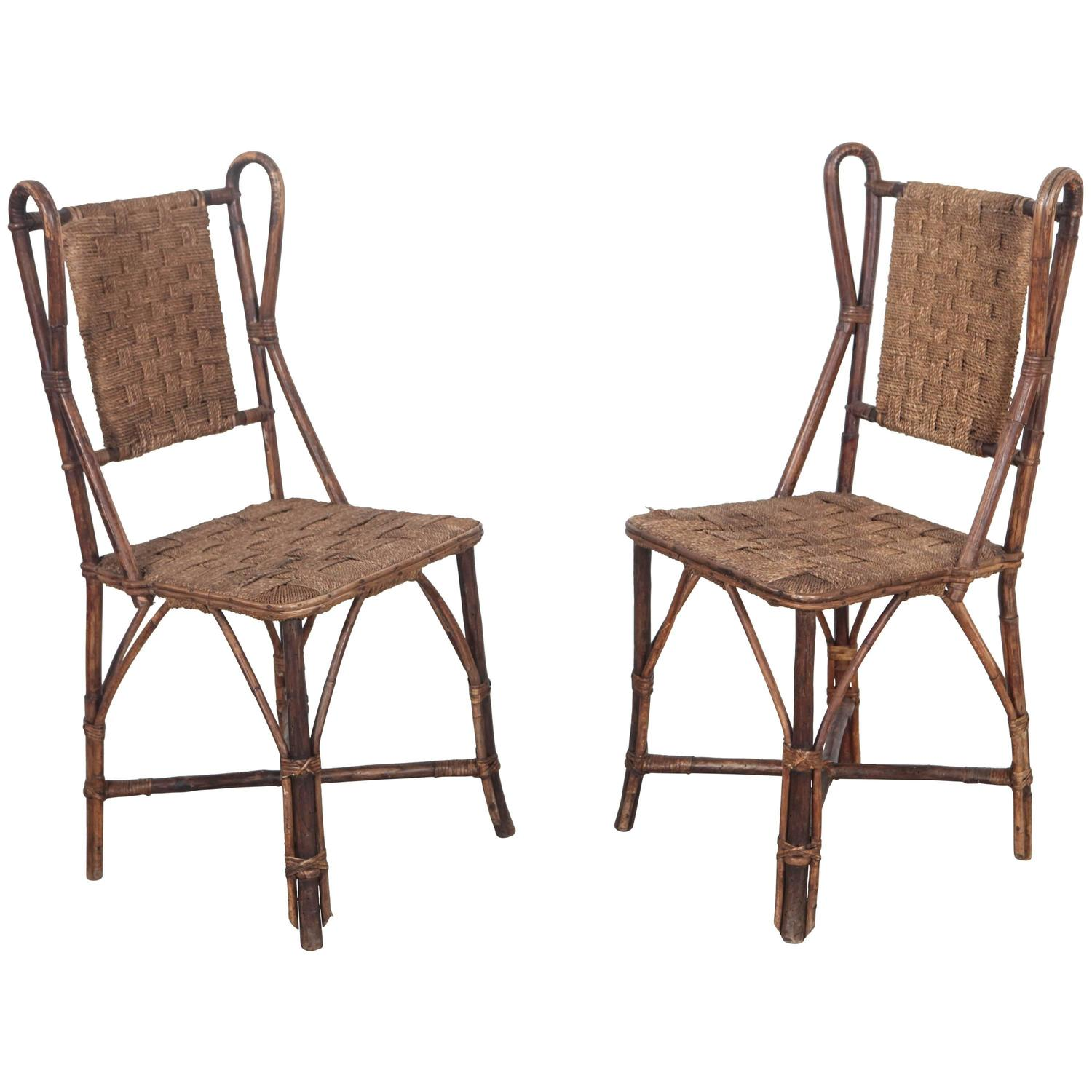 Wicker Side Chair Vintage Italian Wicker And Rush Side Chair For Sale At 1stdibs
