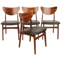 Set of Four Rosewood and Leather Midcentury Dining Chairs ...