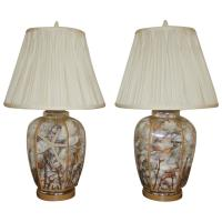 Pair of Sea Shell Filled Glass Table Lamps at 1stdibs