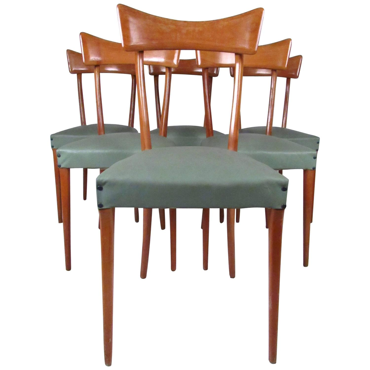 Italian Dining Chairs Midcentury Set Of Ico Parisi Style Italian Dining Chairs