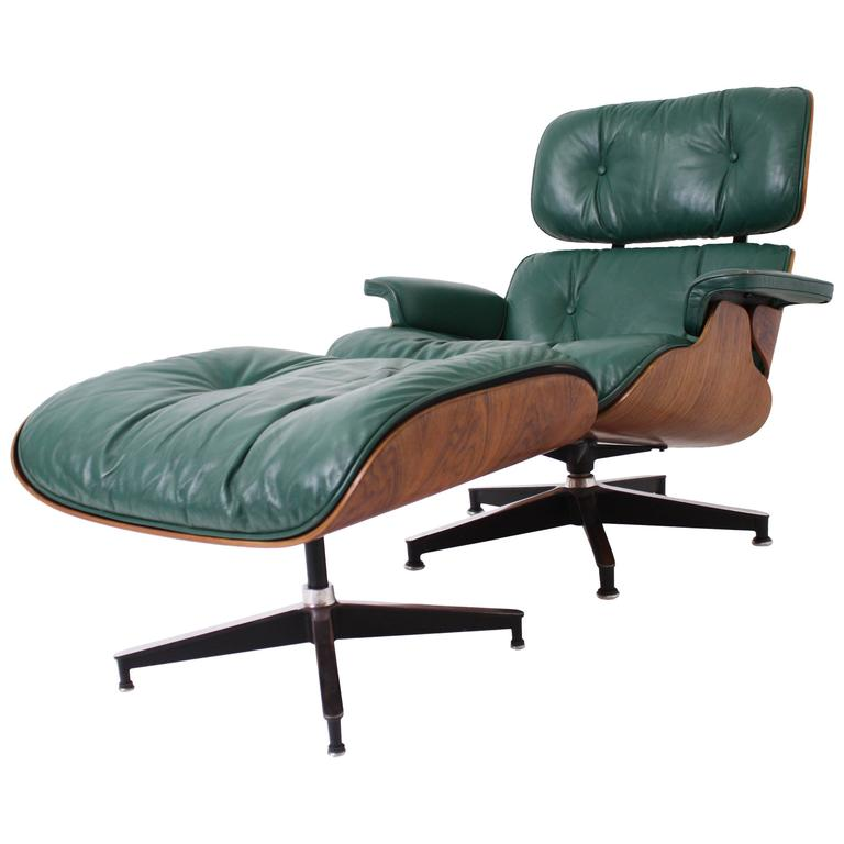 eames chair herman miller wooden with arms for toddler rosewood lounge and ottoman in rare green leather sale