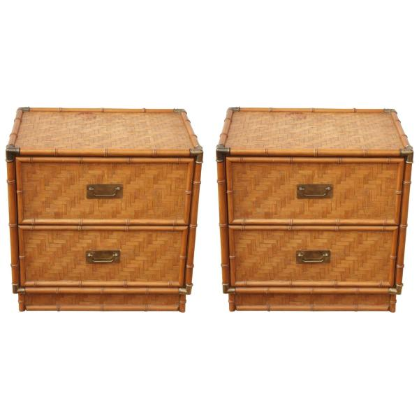 Rattan Nightstands with Drawers