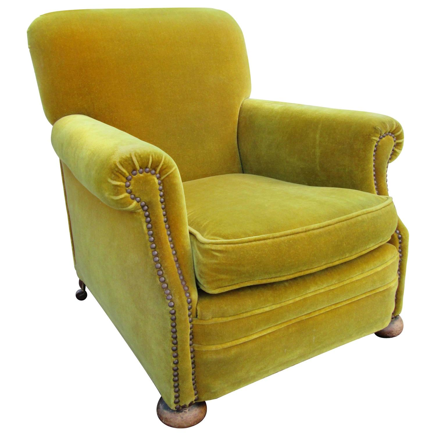Velvet Club Chair Chartreuse Mohair Velvet Club Chair At 1stdibs