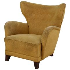 Yellow Chairs For Sale Scooter Chair Store Danish Wingback Lounge With Upholstery 1940s
