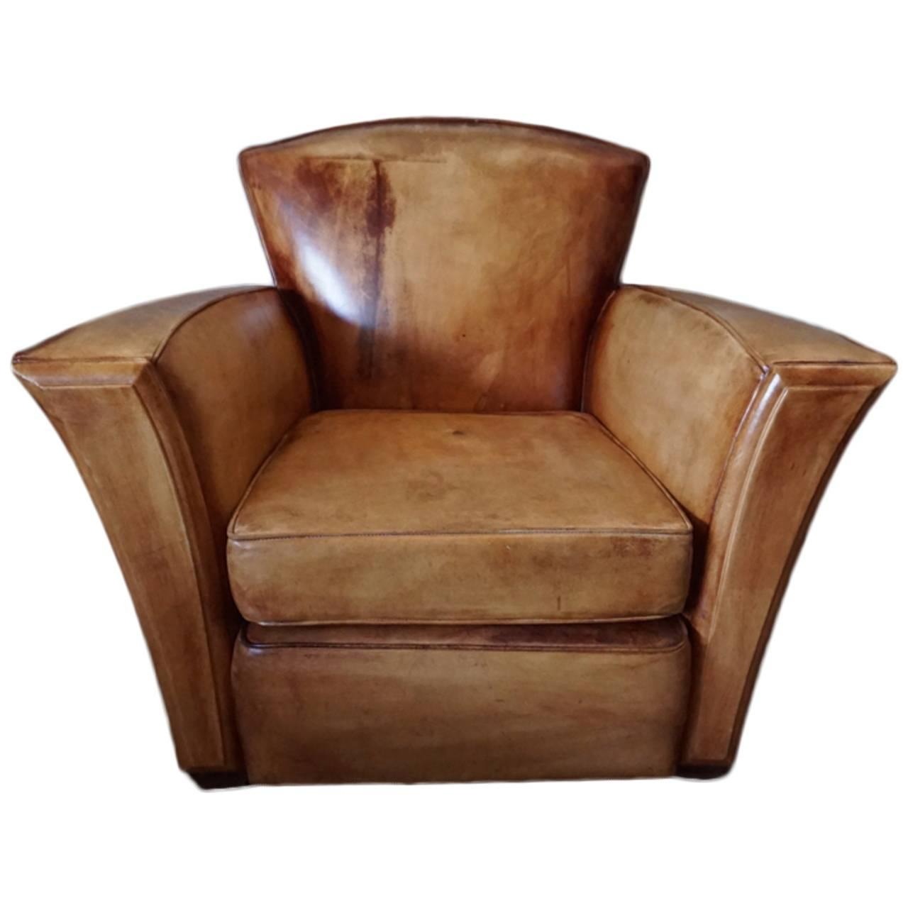 art deco club chairs leather oversized chair and ottoman vintage cognac style at 1stdibs