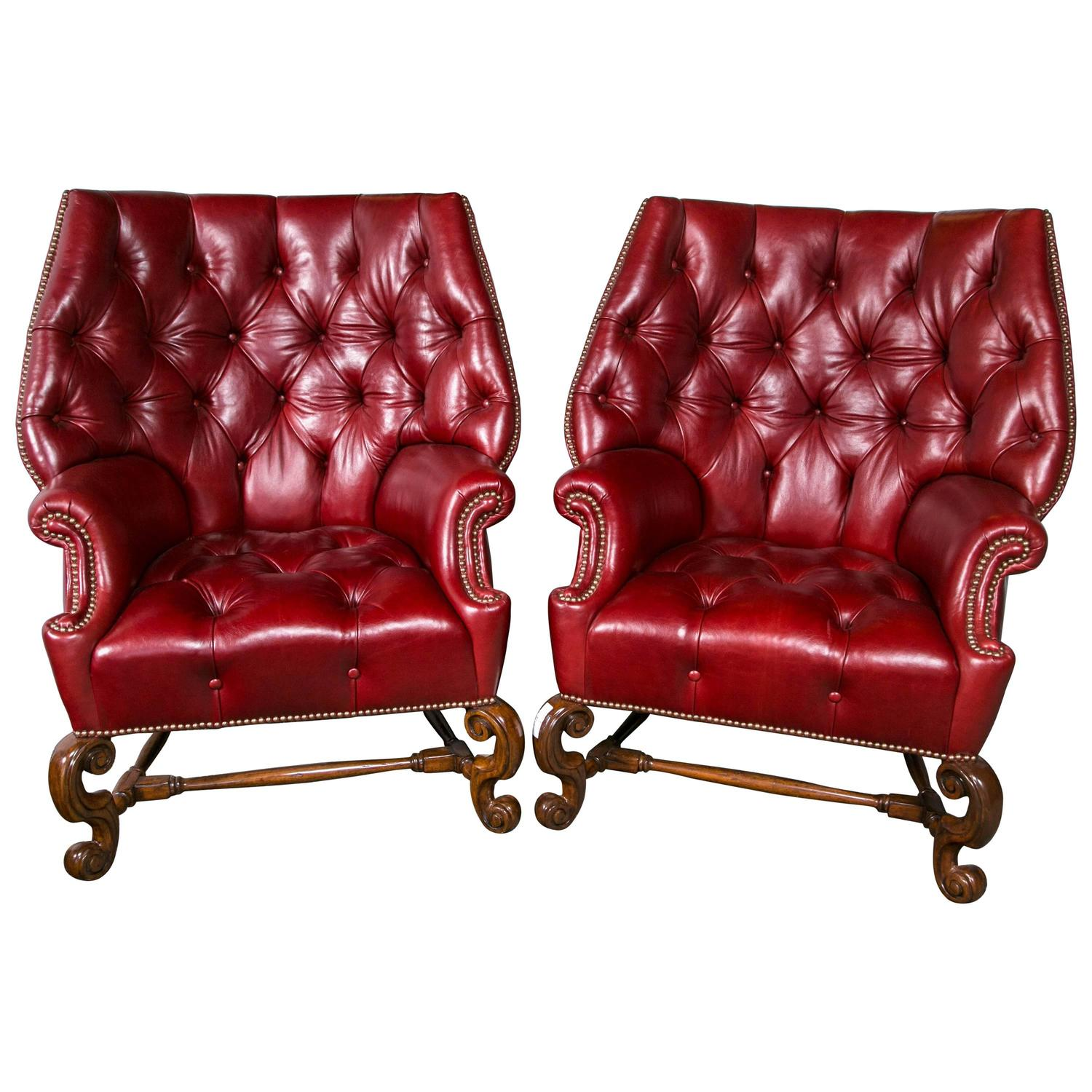 leather wingback chairs beanie walmart pair of oversized tufted for sale