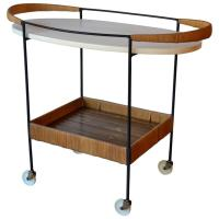 Oval Bar Cart by Arthur Umanoff, 1950s at 1stdibs