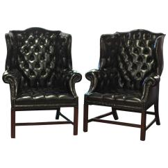 Black Leather Wingback Chair Fisher Price Kids Table And Chairs Pair Of English Wing At 1stdibs