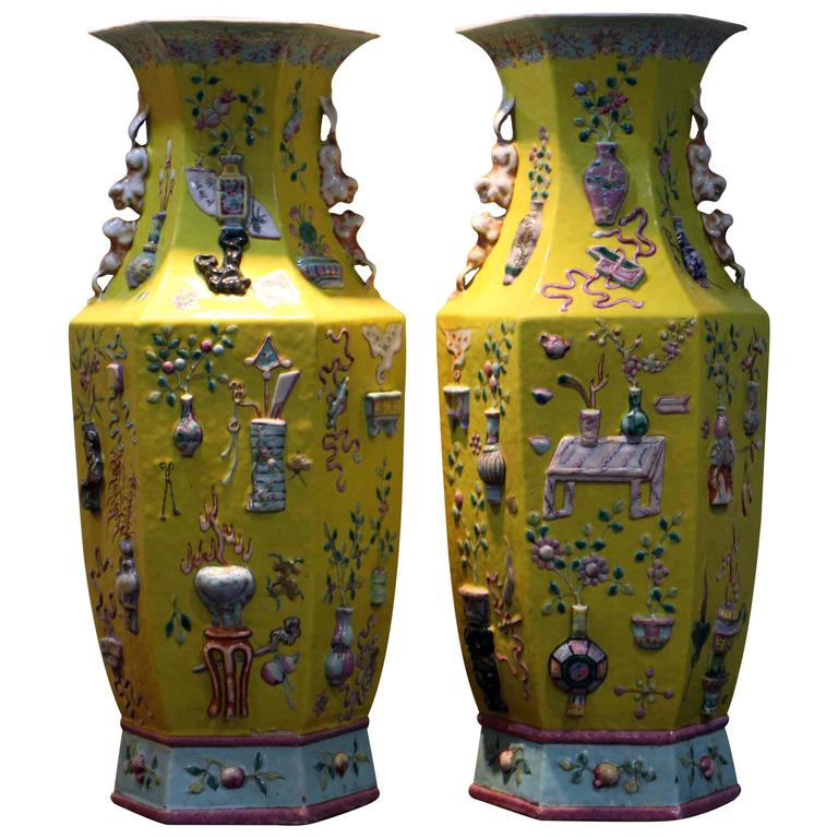 Pair of Antique Chinese Yellow Ground Precious Things