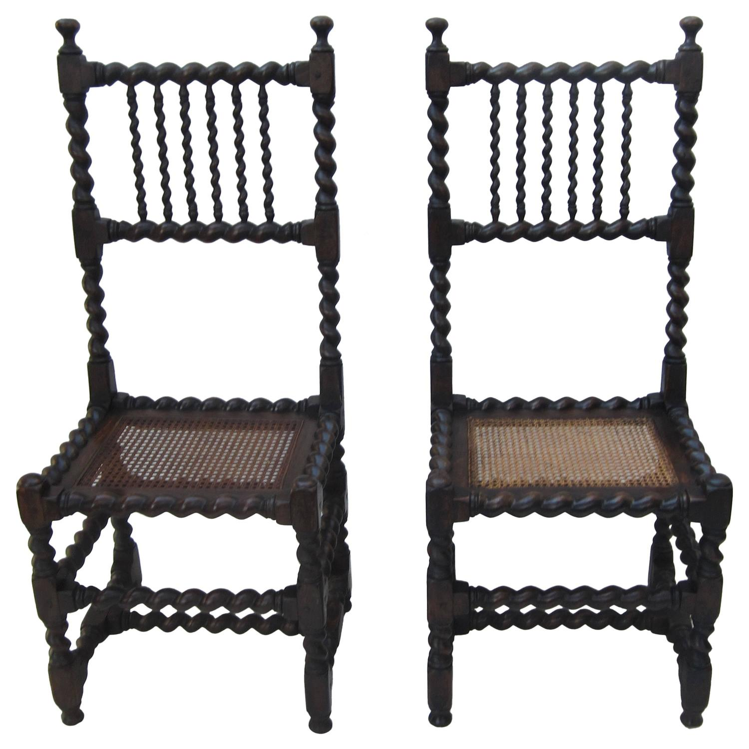 barley twist chair wicker hammock swing pair of side chairs for sale at 1stdibs