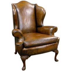 Leather Wingback Chairs Best Geneva Gliding Ottoman Caviar Velvet Georgian Revival Upholstered Chair At 1stdibs